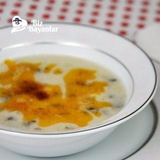 yogurtlu mantar corbasi tarifi